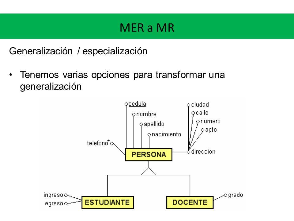 MER a MR Generalización / especialización