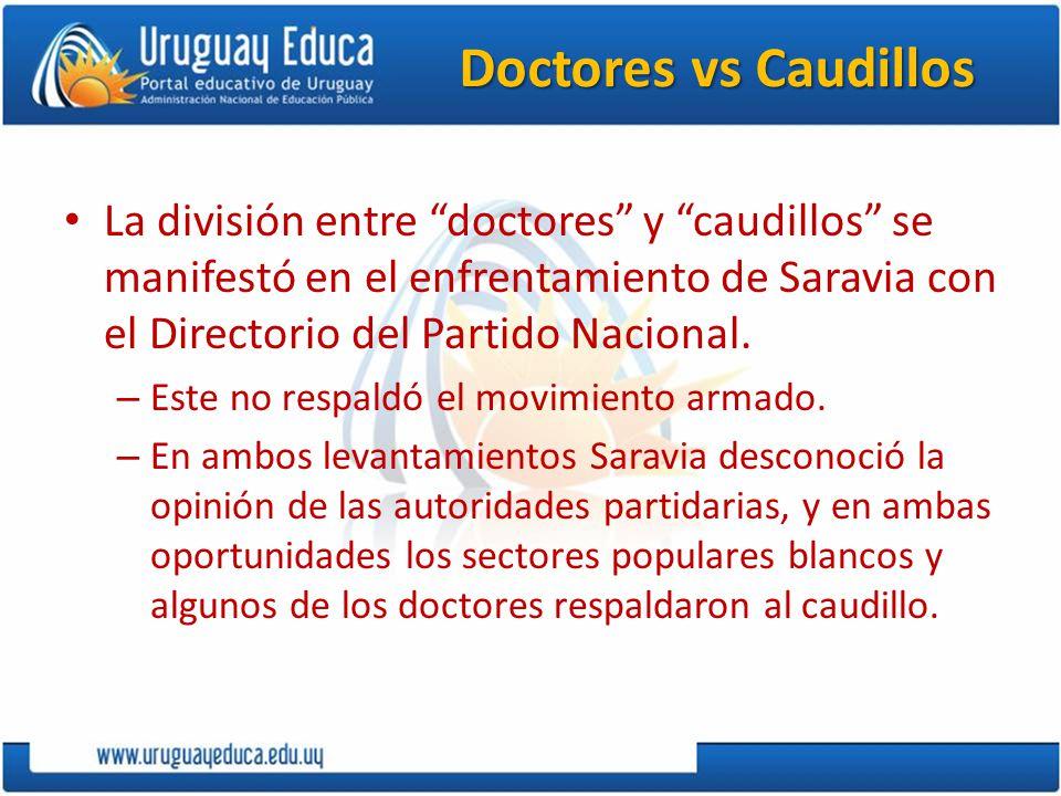 Doctores vs Caudillos La división entre doctores y caudillos se manifestó en el enfrentamiento de Saravia con el Directorio del Partido Nacional.