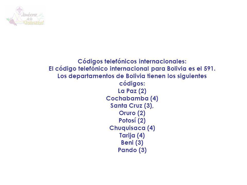 Códigos telefónicos internacionales: