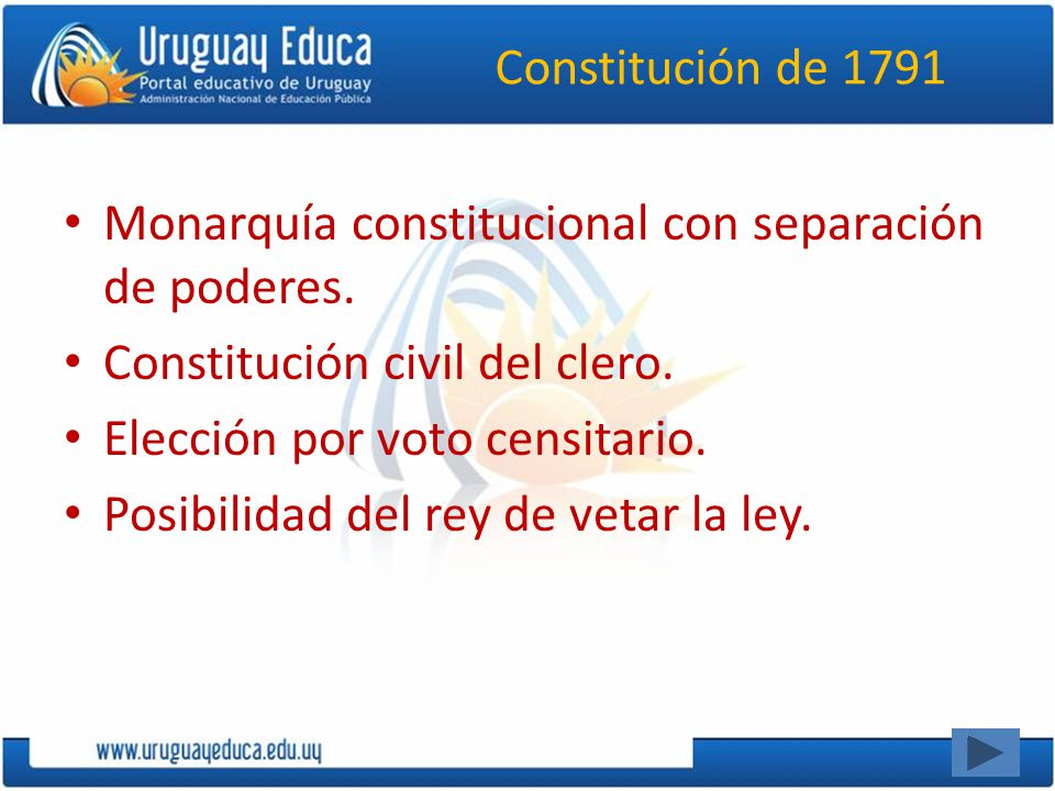 Constitución de 1791 Monarquía constitucional con separación de poderes. Constitución civil del clero.