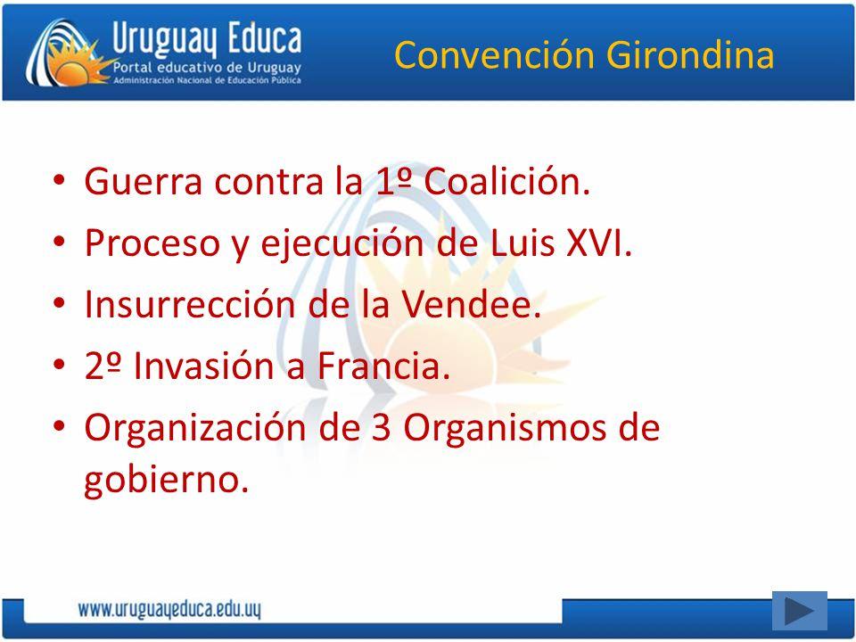 Convención Girondina Guerra contra la 1º Coalición. Proceso y ejecución de Luis XVI. Insurrección de la Vendee.