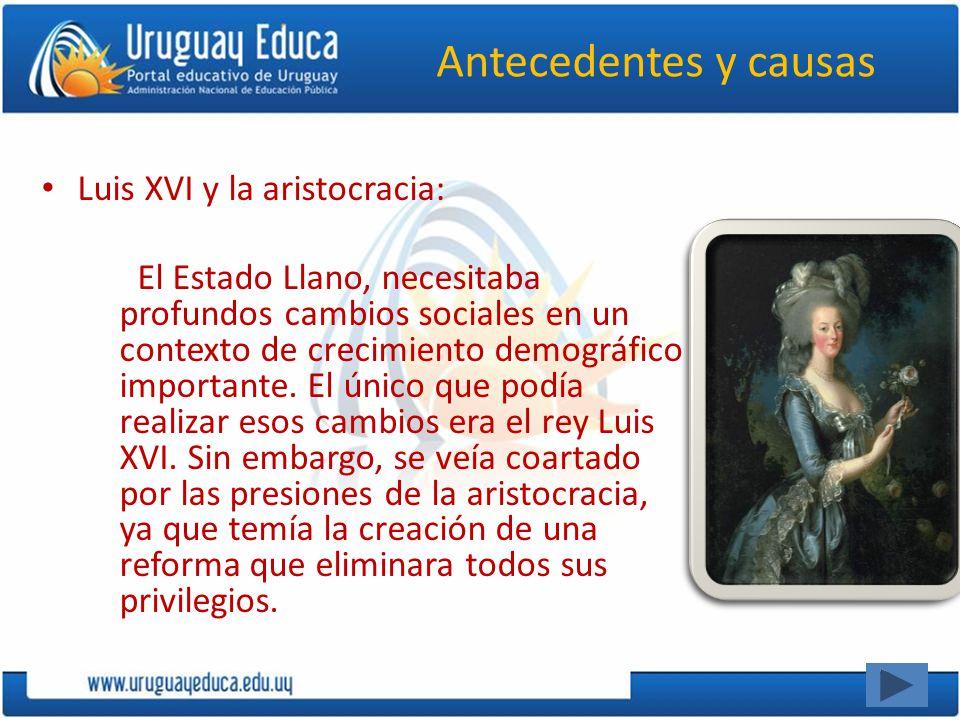 Antecedentes y causas Luis XVI y la aristocracia: