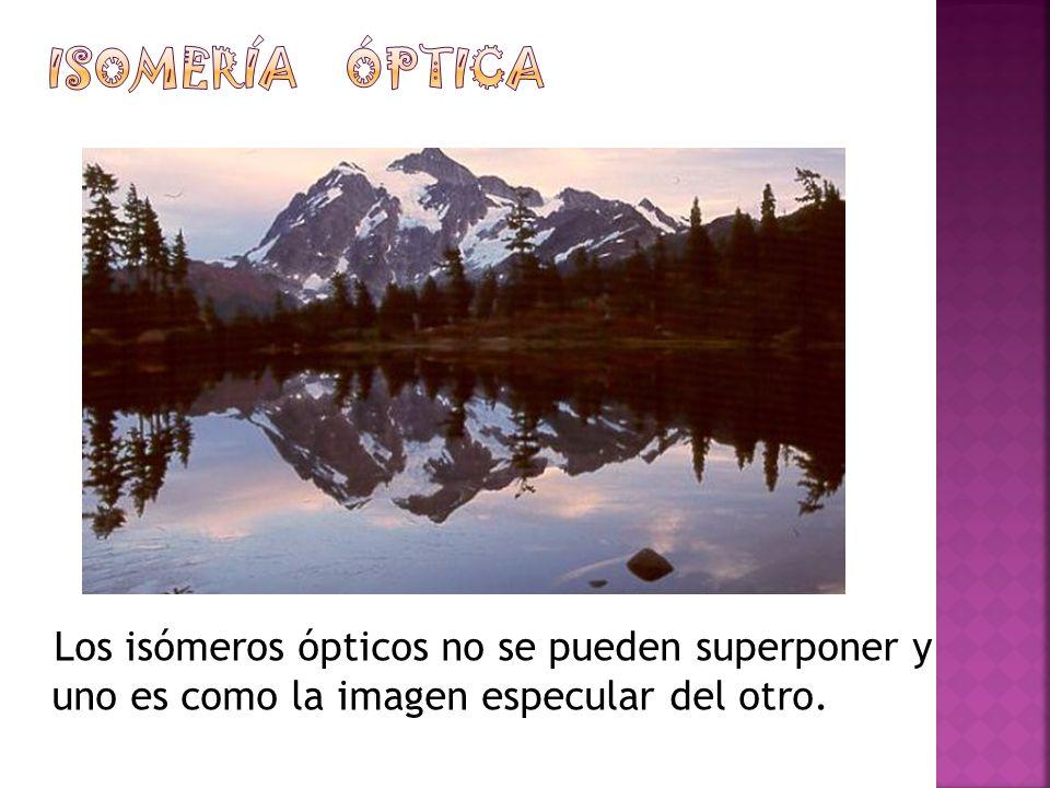 Isomería óptica Los isómeros ópticos no se pueden superponer y uno es como la imagen especular del otro.