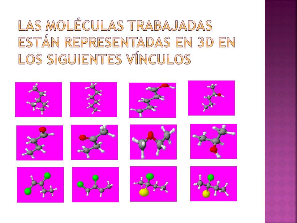 Las moléculas trabajadas están representadas en 3d en los siguientes vínculos