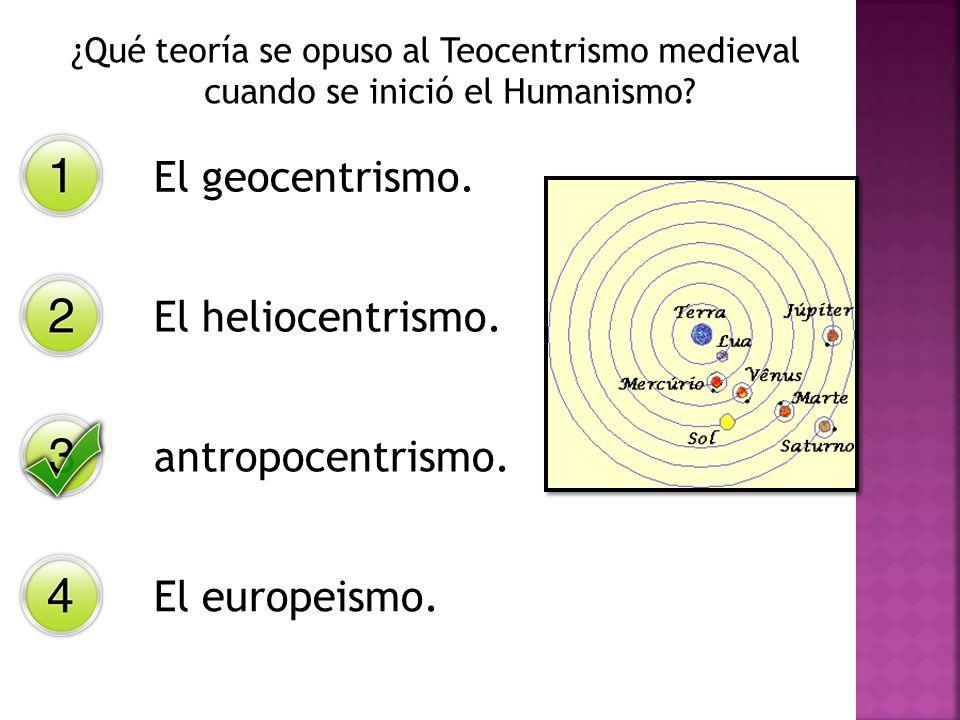El geocentrismo. El heliocentrismo. antropocentrismo. El europeismo.