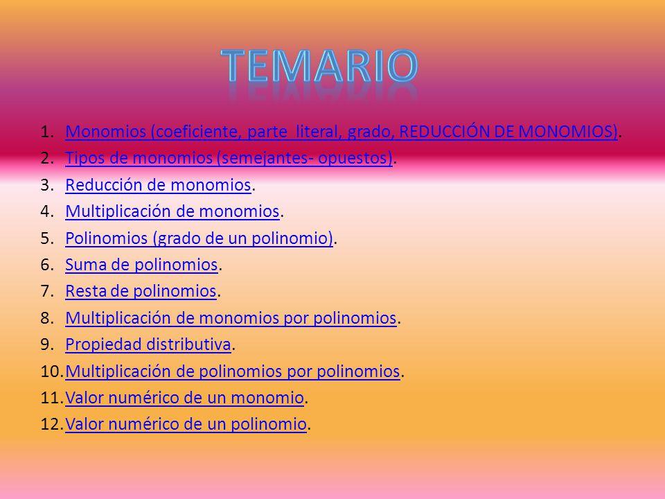 TEMARIO Monomios (coeficiente, parte literal, grado, REDUCCIÓN DE MONOMIOS). Tipos de monomios (semejantes- opuestos).