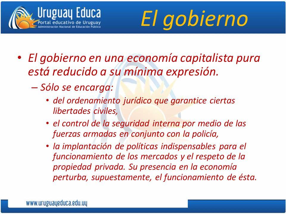 El gobierno El gobierno en una economía capitalista pura está reducido a su mínima expresión. Sólo se encarga: