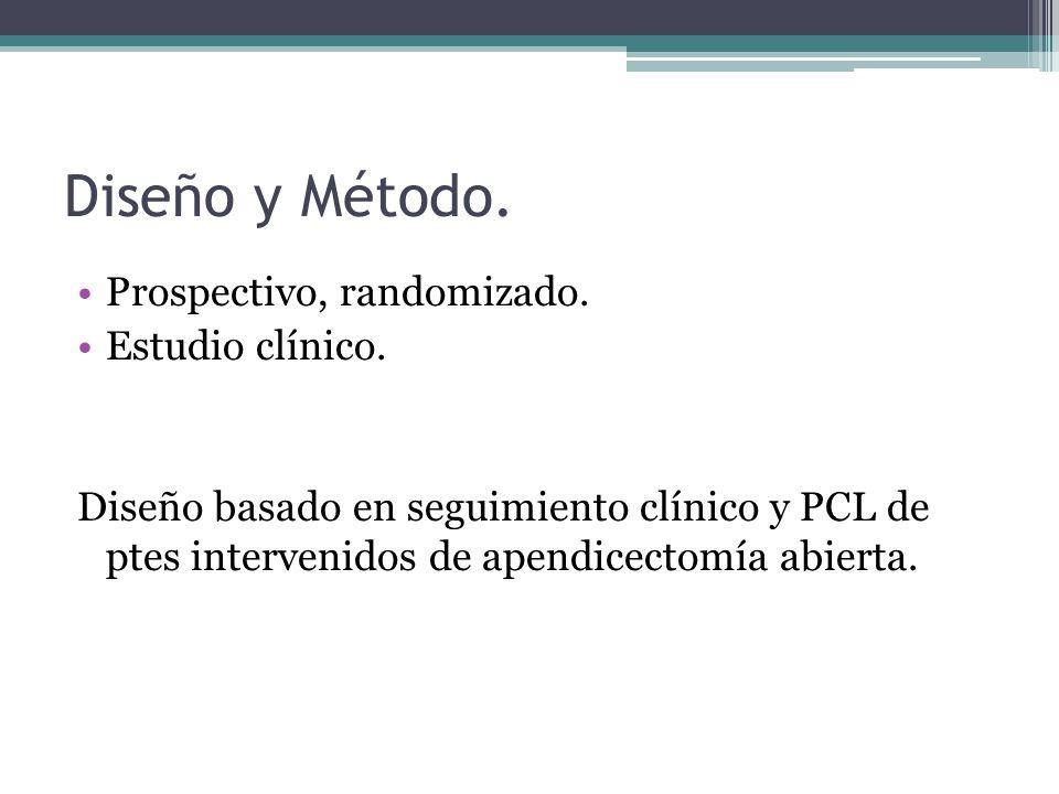 Diseño y Método. Prospectivo, randomizado. Estudio clínico.