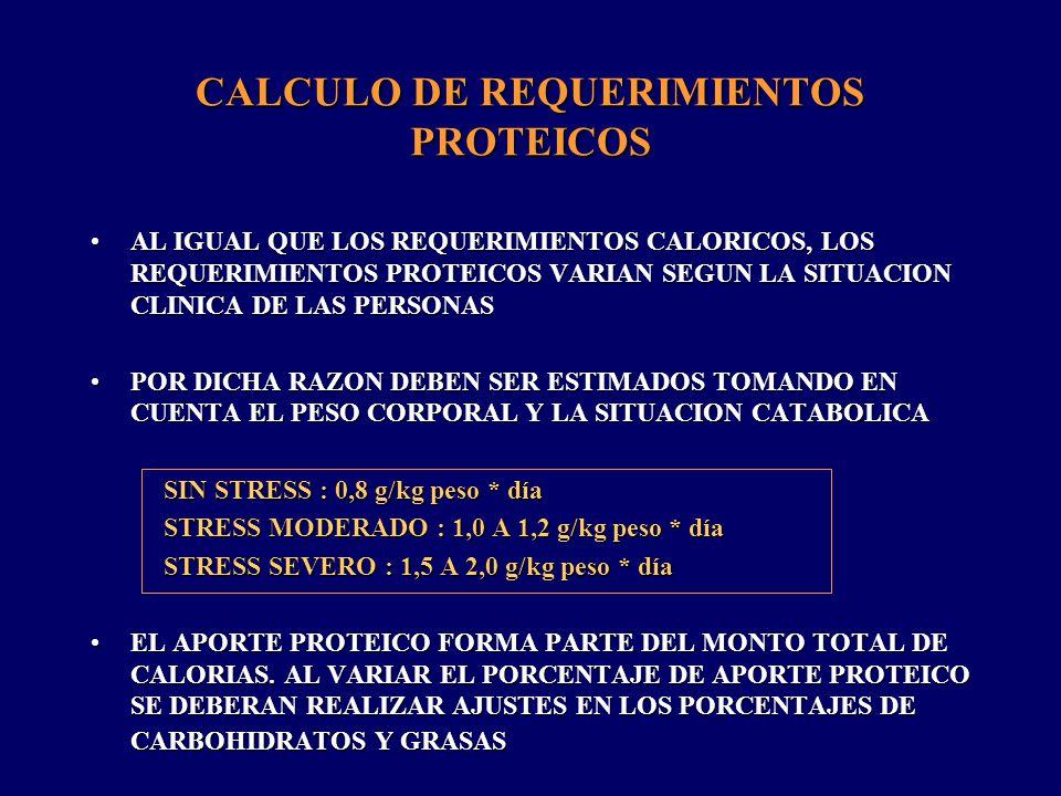 CALCULO DE REQUERIMIENTOS PROTEICOS