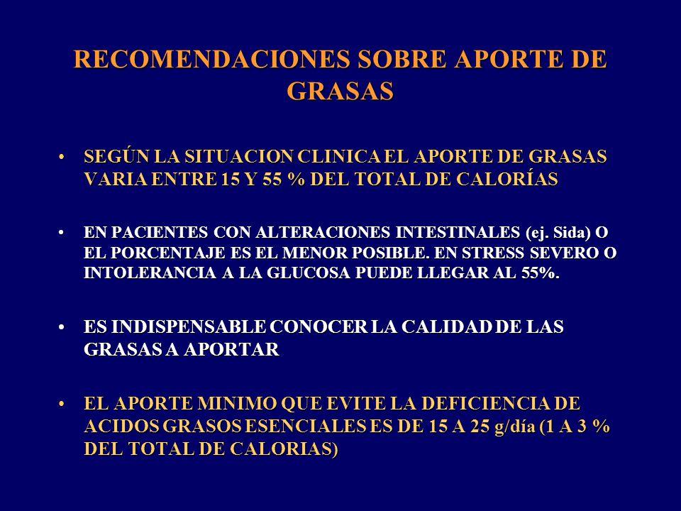 RECOMENDACIONES SOBRE APORTE DE GRASAS