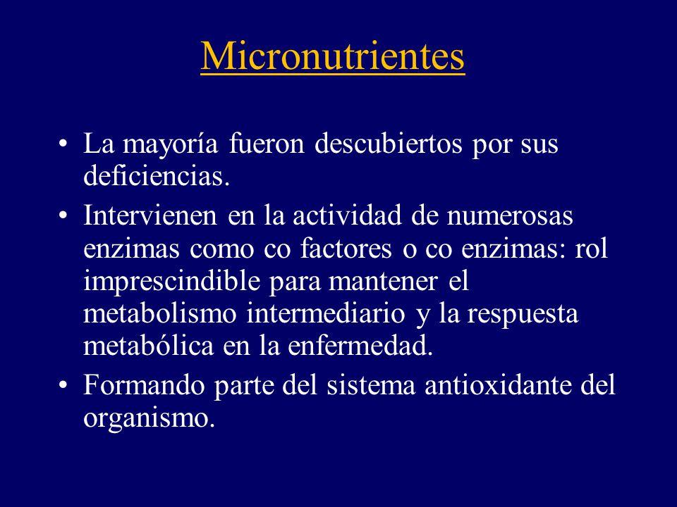 Micronutrientes La mayoría fueron descubiertos por sus deficiencias.
