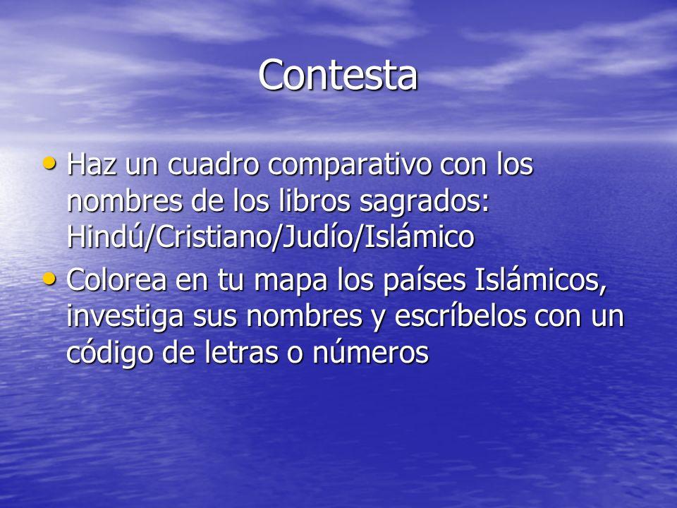 ContestaHaz un cuadro comparativo con los nombres de los libros sagrados: Hindú/Cristiano/Judío/Islámico.