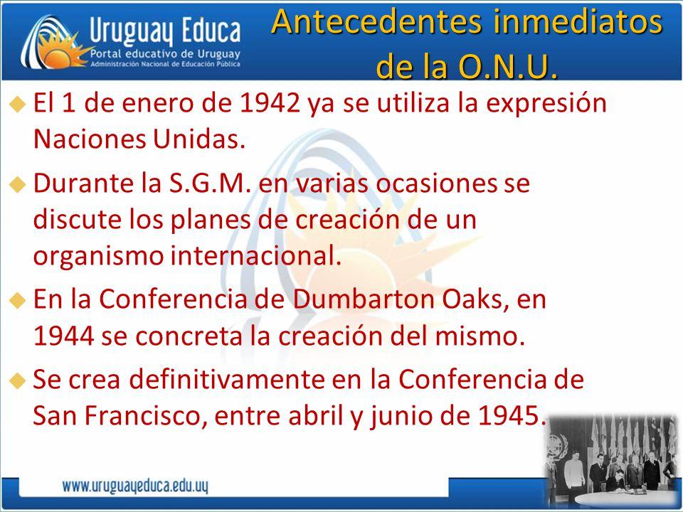 Antecedentes inmediatos de la O.N.U.