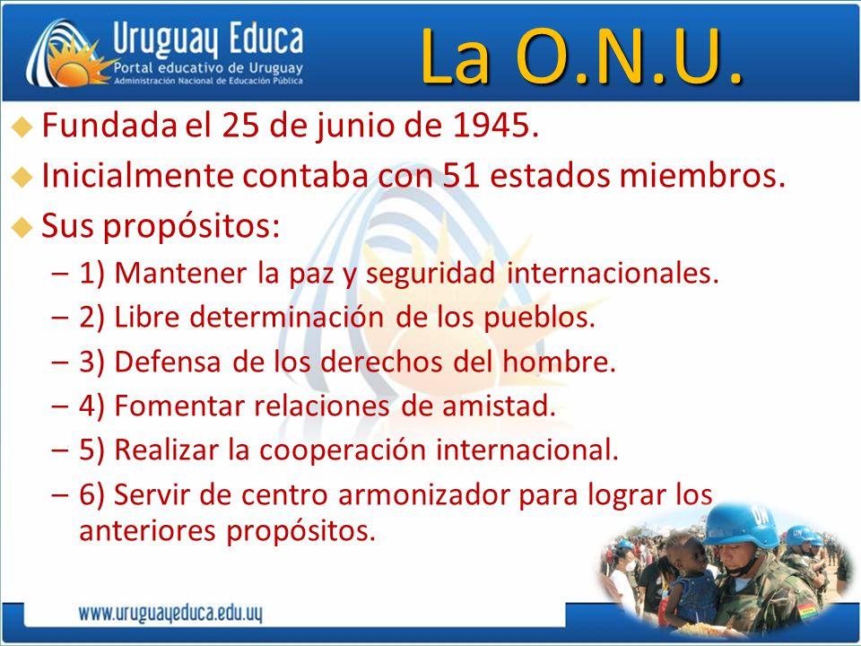 La O.N.U. Fundada el 25 de junio de 1945.