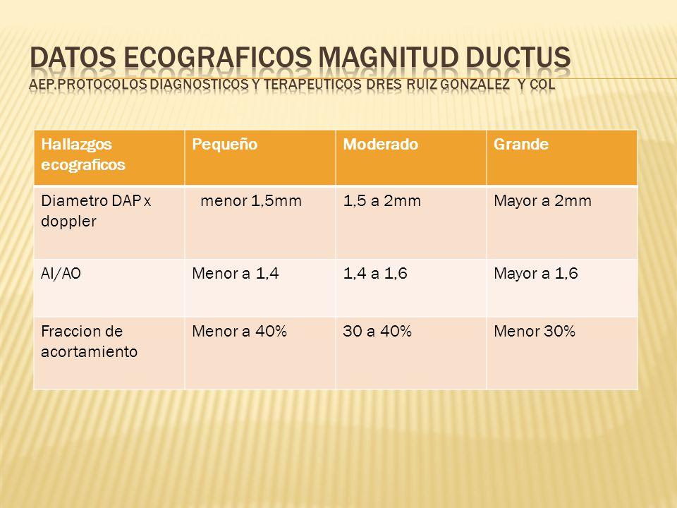 Datos ecograficos magnitud ductus AEP