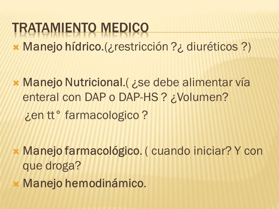 Tratamiento medico Manejo hídrico.(¿restricción ¿ diuréticos )