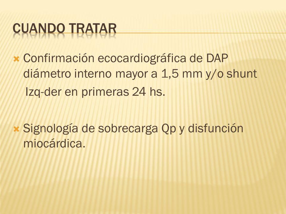 CUANDO TRATAR Confirmación ecocardiográfica de DAP diámetro interno mayor a 1,5 mm y/o shunt. Izq-der en primeras 24 hs.