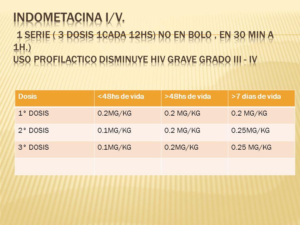 Indometacina i/v. 1 serie ( 3 dosis 1cada 12hs) NO EN BOLO , EN 30 min A 1H.) uso profilactico disminuye HIV GRAVE GRADO III - IV