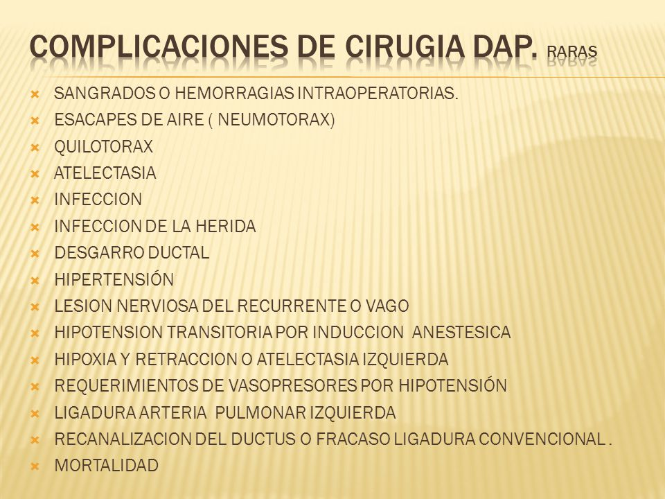 COMPLICACIONES DE CIRUGIA dap. RARAS
