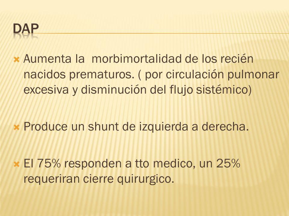 DAP Aumenta la morbimortalidad de los recién nacidos prematuros. ( por circulación pulmonar excesiva y disminución del flujo sistémico)
