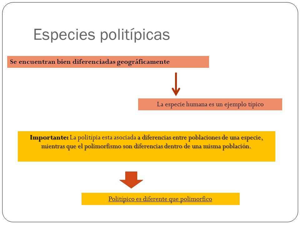 Especies politípicas Se encuentran bien diferenciadas geográficamente