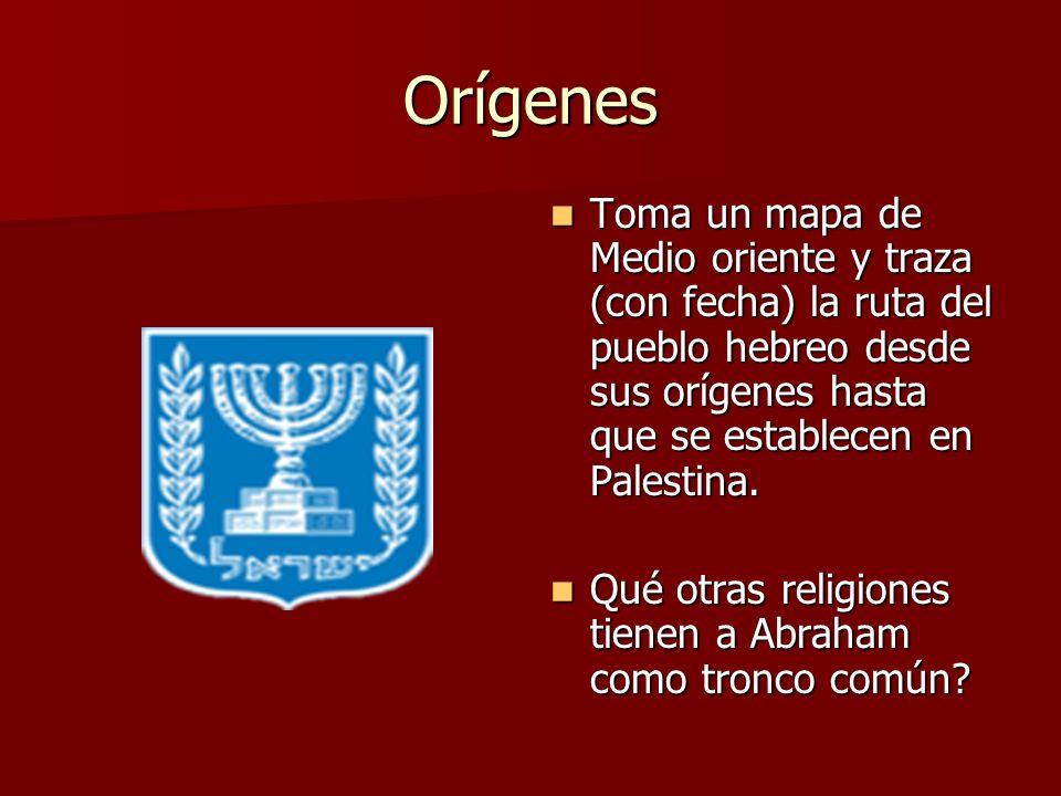 Orígenes Toma un mapa de Medio oriente y traza (con fecha) la ruta del pueblo hebreo desde sus orígenes hasta que se establecen en Palestina.