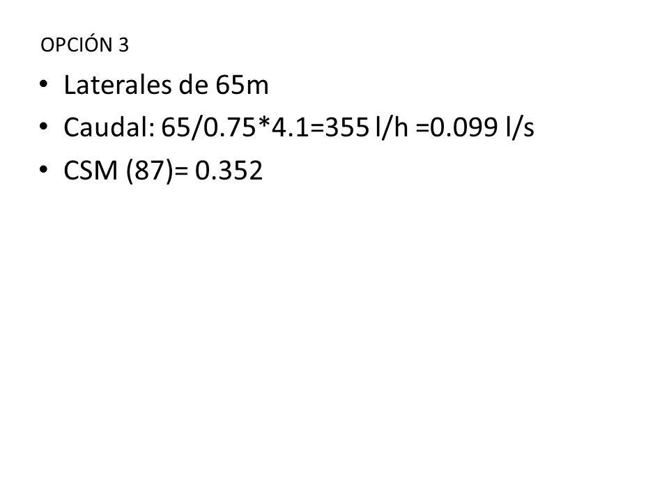 Laterales de 65m Caudal: 65/0.75*4.1=355 l/h =0.099 l/s
