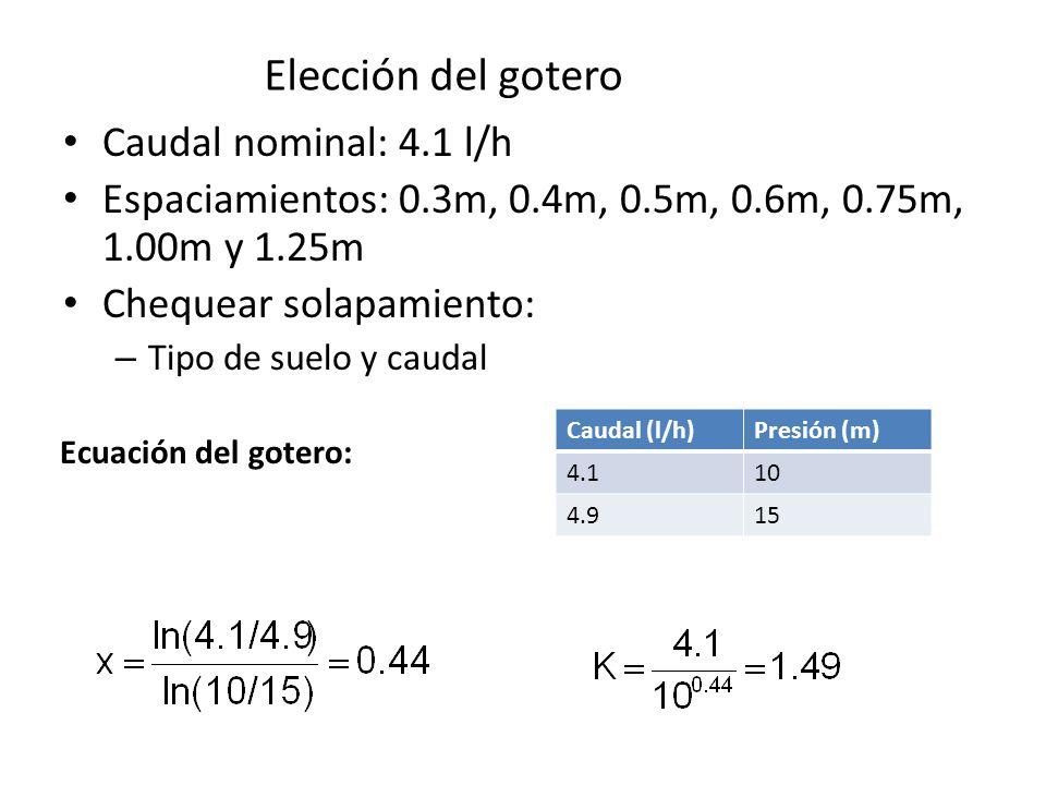 Elección del gotero Caudal nominal: 4.1 l/h
