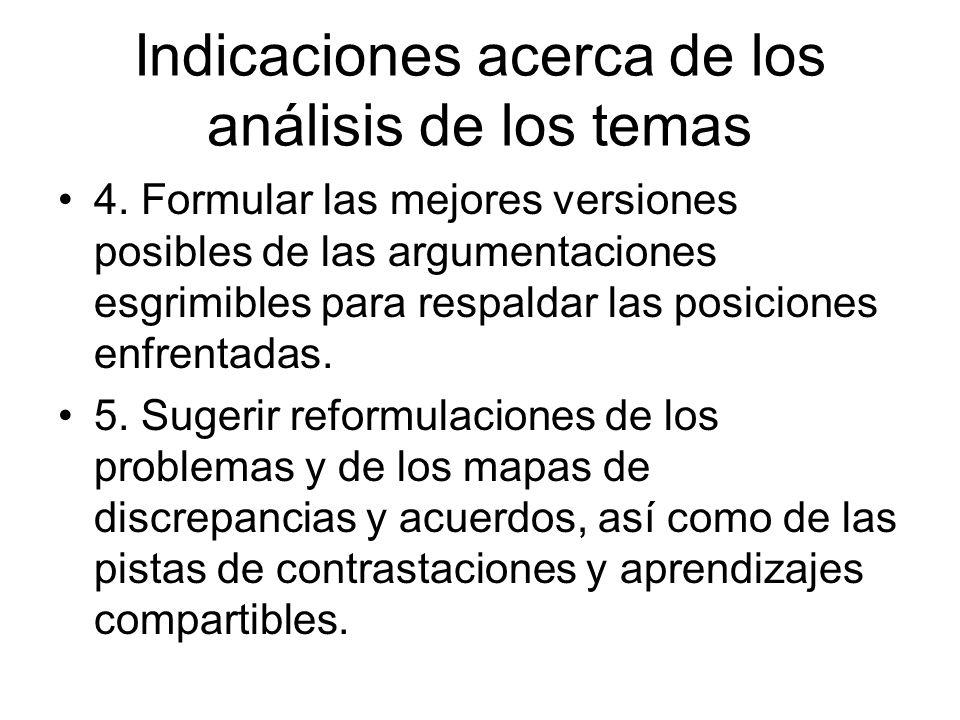 Indicaciones acerca de los análisis de los temas