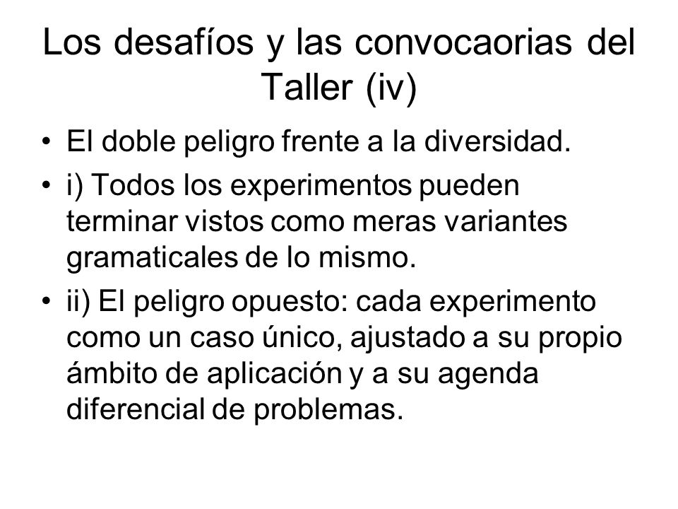 Los desafíos y las convocaorias del Taller (iv)