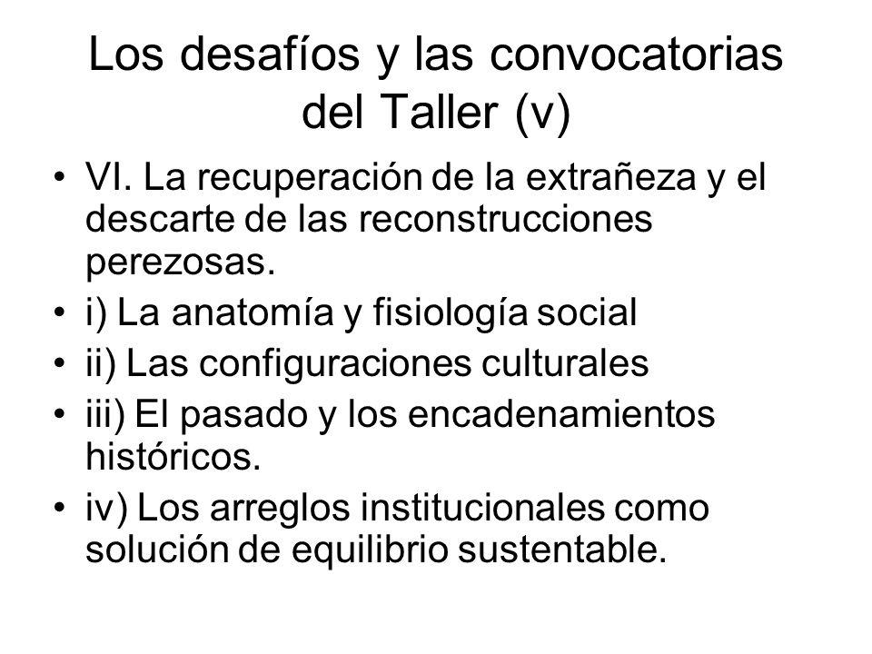 Los desafíos y las convocatorias del Taller (v)