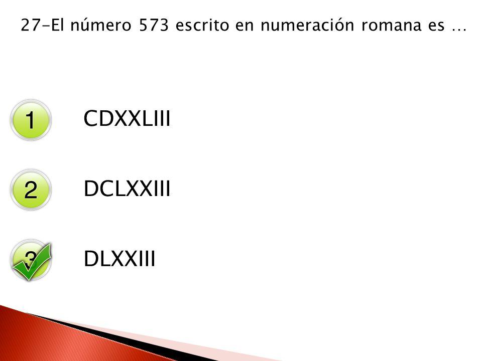 27-El número 573 escrito en numeración romana es …