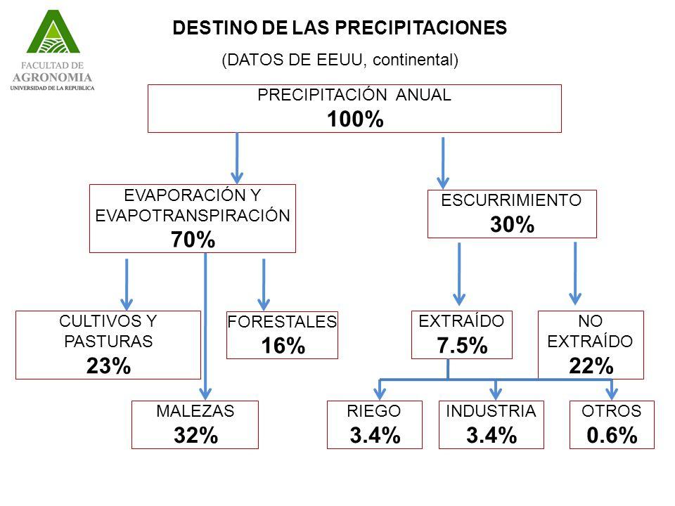 DESTINO DE LAS PRECIPITACIONES