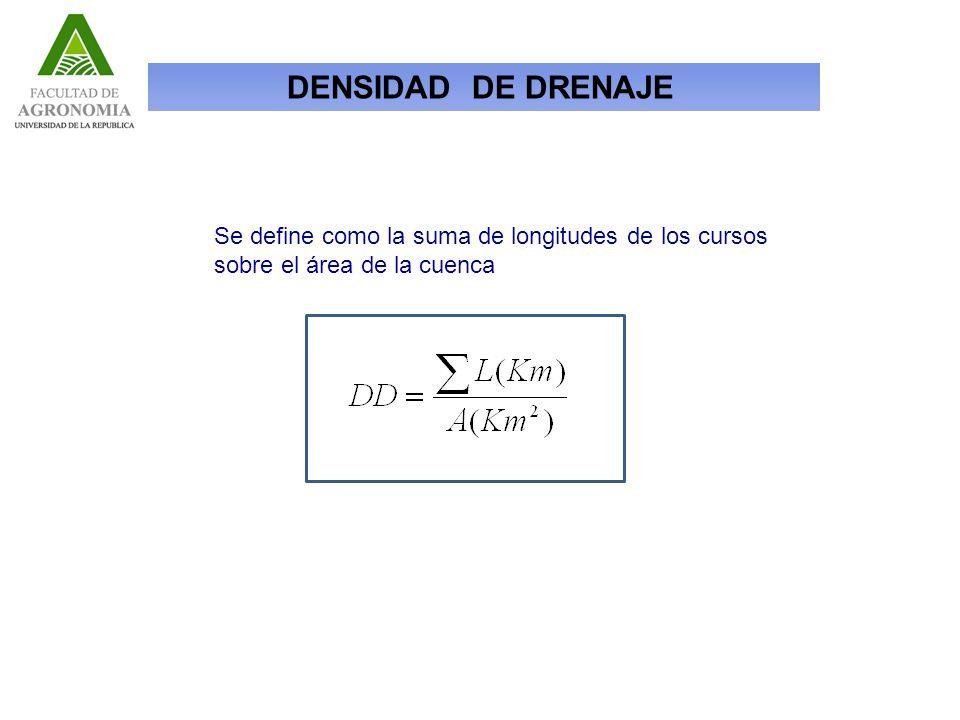 DENSIDAD DE DRENAJE Se define como la suma de longitudes de los cursos sobre el área de la cuenca