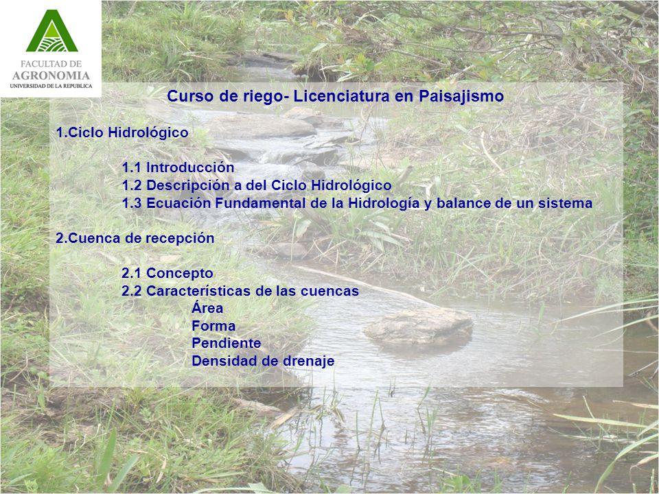 Curso de riego- Licenciatura en Paisajismo