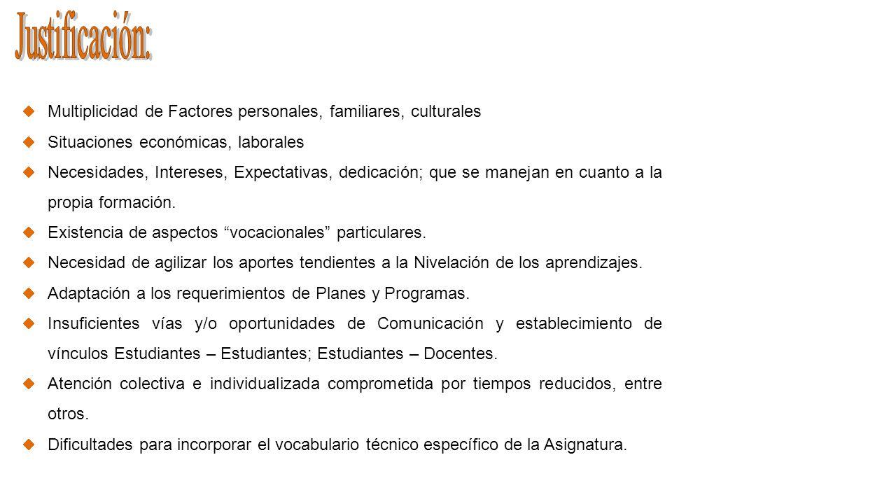 Justificación: Multiplicidad de Factores personales, familiares, culturales. Situaciones económicas, laborales.