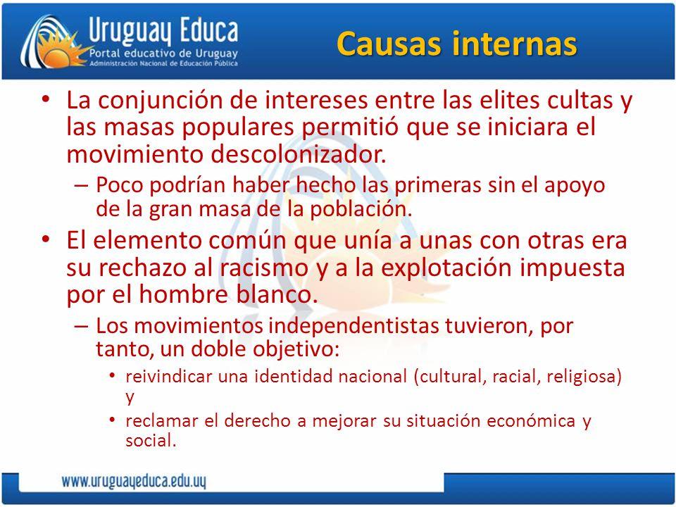 Causas internas La conjunción de intereses entre las elites cultas y las masas populares permitió que se iniciara el movimiento descolonizador.