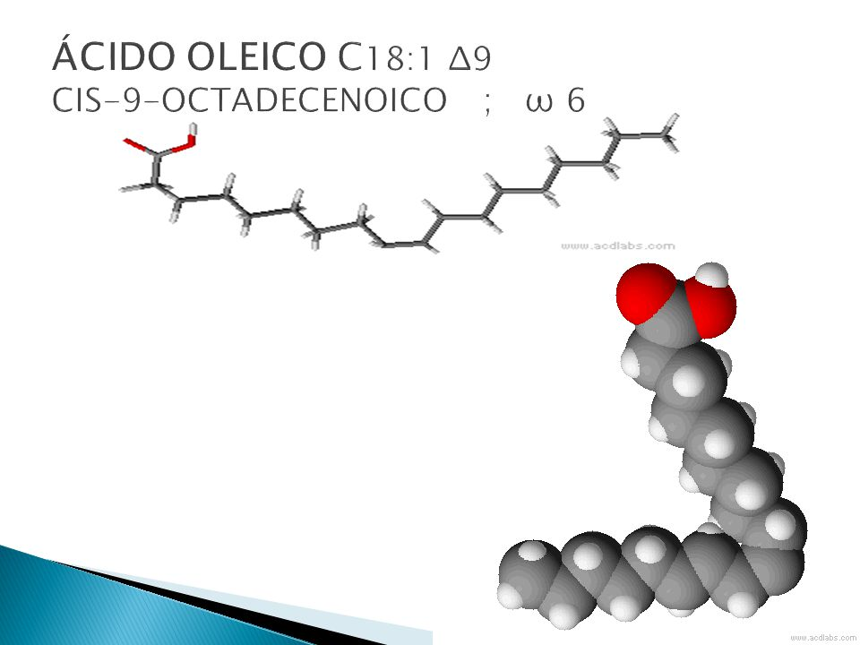 ÁCIDO OLEICO C18:1 Δ9 CIS-9-OCTADECENOICO ; ω 6