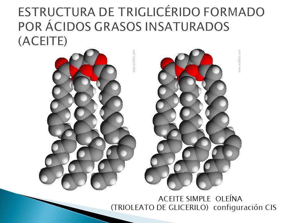 ESTRUCTURA DE TRIGLICÉRIDO FORMADO POR ÁCIDOS GRASOS INSATURADOS (ACEITE)