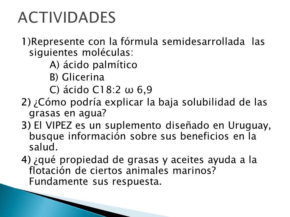 ACTIVIDADES 1)Represente con la fórmula semidesarrollada las siguientes moléculas: A) ácido palmítico.