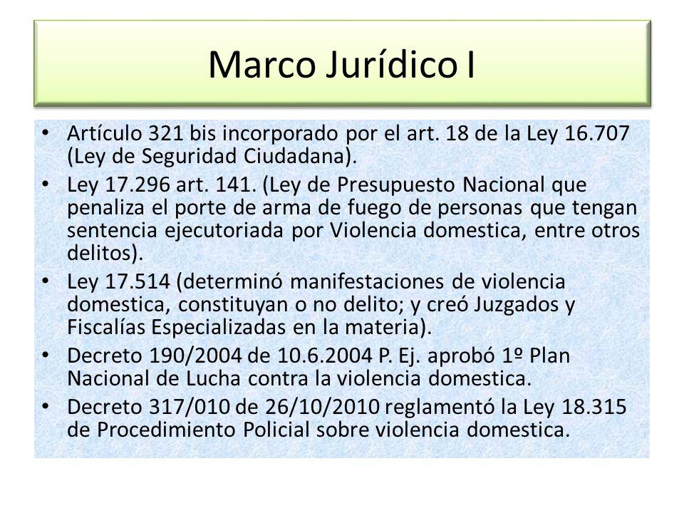 Marco Jurídico I Artículo 321 bis incorporado por el art. 18 de la Ley 16.707 (Ley de Seguridad Ciudadana).