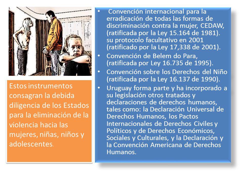 Convención internacional para la erradicación de todas las formas de discriminación contra la mujer, CEDAW, (ratificada por la Ley 15.164 de 1981). su protocolo facultativo en 2001 (ratificado por la Ley 17,338 de 2001).