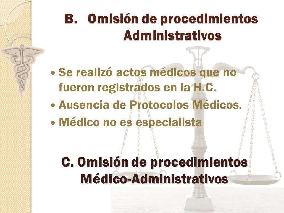 Omisión de procedimientos Administrativos