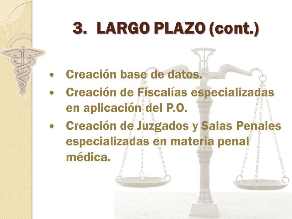 LARGO PLAZO (cont.) Creación base de datos.