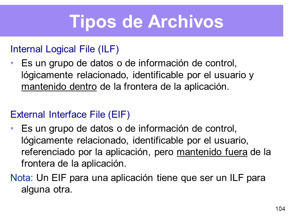 Tipos de Archivos Internal Logical File (ILF)