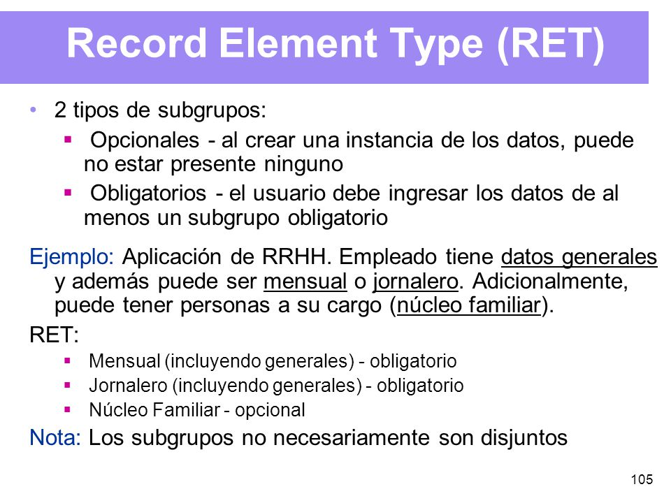 Record Element Type (RET)