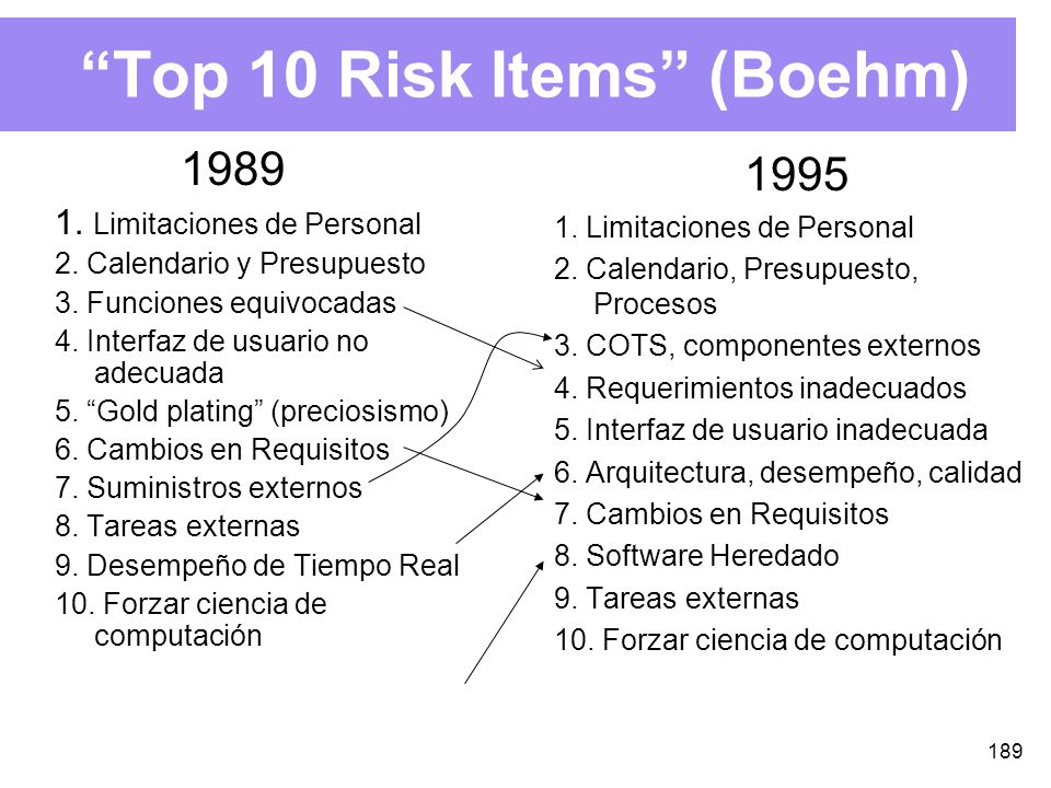 Top 10 Risk Items (Boehm)