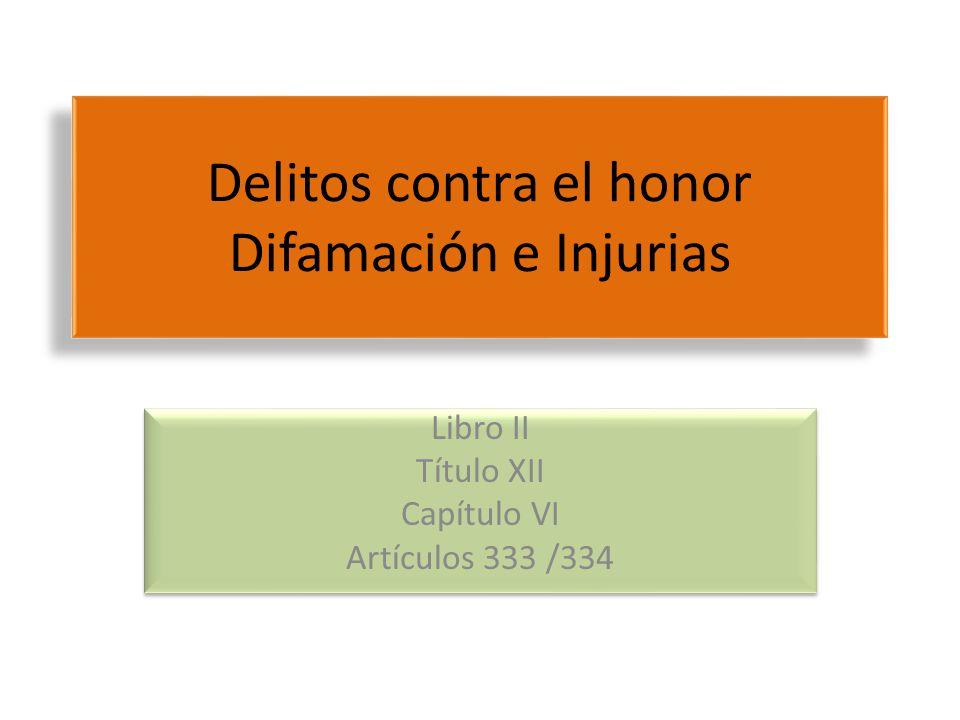 Delitos contra el honor Difamación e Injurias