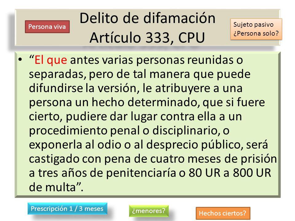 Delito de difamación Artículo 333, CPU