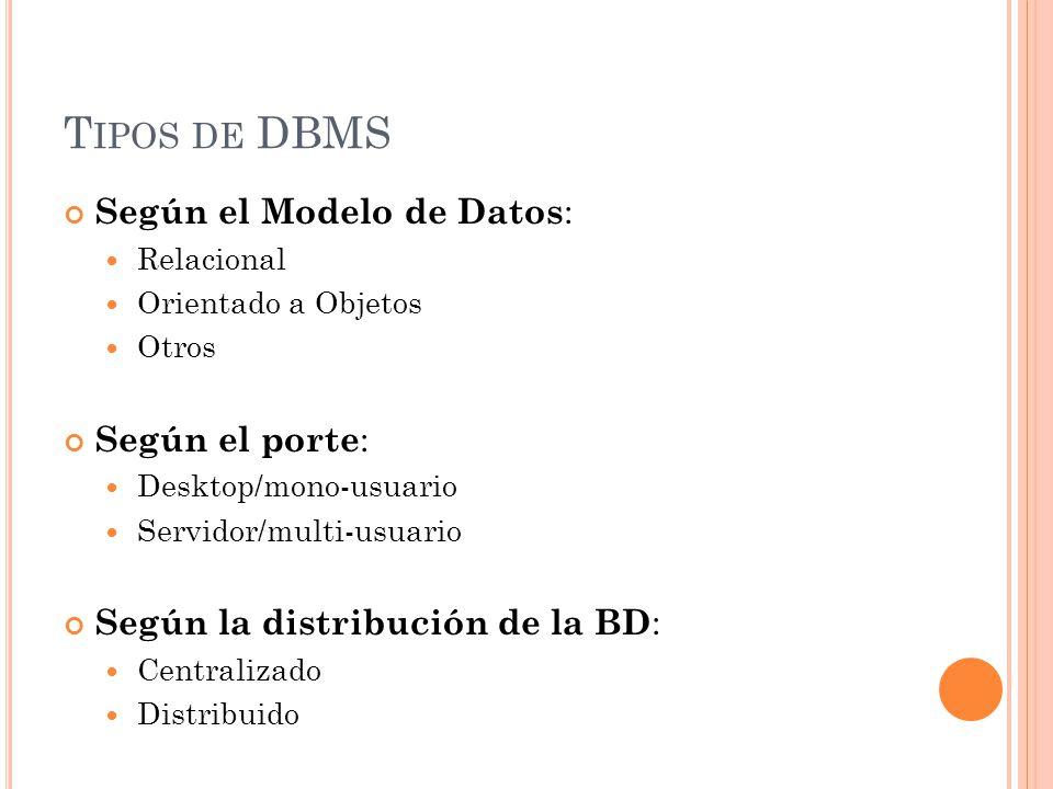 Tipos de DBMS Según el Modelo de Datos: Según el porte: